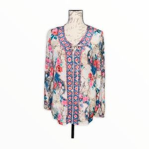 Feathers By Tolani Boho Floral Tie Front Blouse
